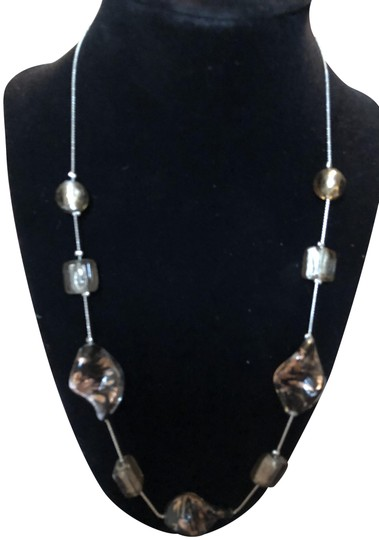 Preload https://img-static.tradesy.com/item/23301997/fashion-bug-silver-and-brown-natural-smooth-stone-necklace-0-3-540-540.jpg
