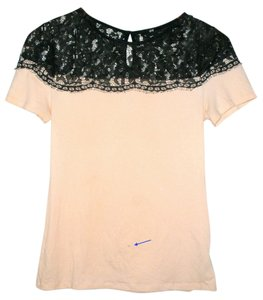 H&M Lace T Shirt Pink, Black