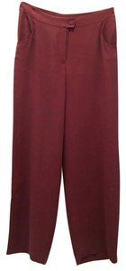 Eileen Fisher Silk Georgette Crepe Leg Wide Leg Straight Pants Mauve
