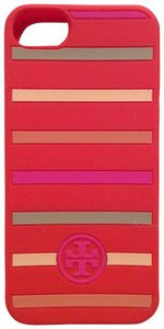 Tory Burch Tory Burch Silicone iPhone 5 series stripped classic case in poppy red