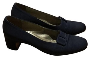 Saint Laurent Ysl Silk Moire Vintage Evening Midnight Blue Pumps