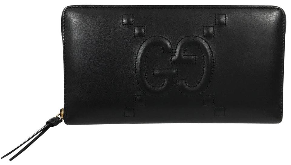 a9d46bfda37 Gucci Black 453396 Apollo Embossed Gg Zip Around Leather Wallet ...