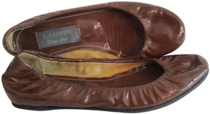 Lanvin Ballerina Patent Elasticized River 2006 Ready To Wear Brown Flats
