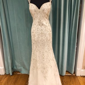 Justin Alexander Ivory with Silver and White Beads Beaded Chiffon 8805 Sexy Wedding Dress Size 16 (XL, Plus 0x)