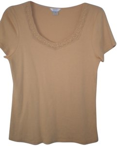 Christopher & Banks Crochet Trim Sleeve T Shirt Soft Peach