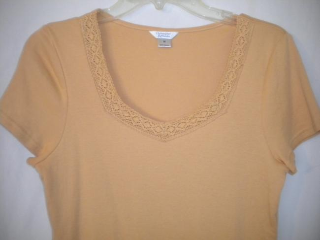 Christopher & Banks Crochet Trim Sleeve T Shirt Soft Peach Image 1