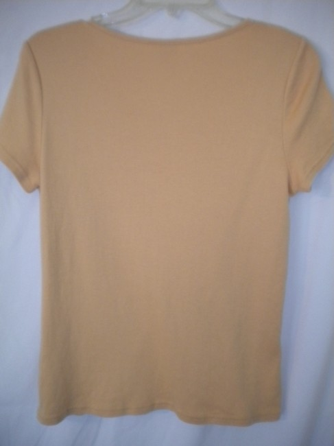 Christopher & Banks Crochet Trim Sleeve T Shirt Soft Peach Image 2