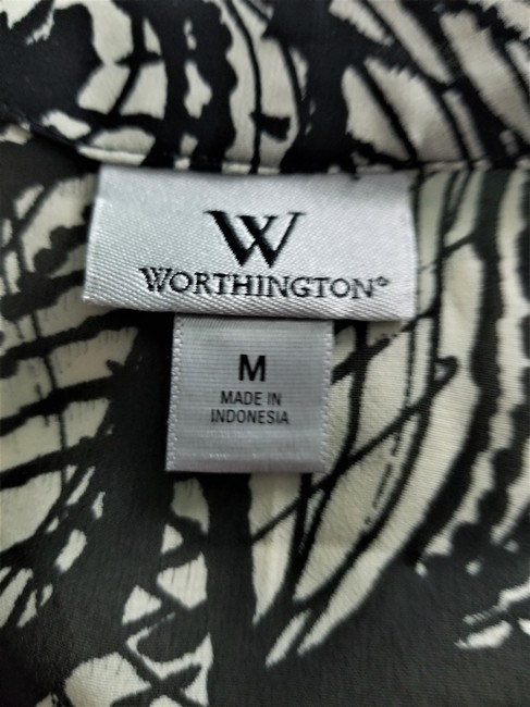 Worthington Ruffles Short Sleeves V-neck Tie Shash Chic Top black & ivory Image 6