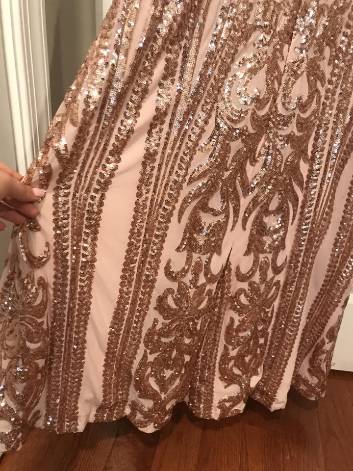 007f4d76 Rose Gold Strapless Sequin Maxi Long Formal Dress Size 8 (M) - Tradesy