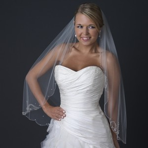 Elegance by Carbonneau Ivory Single Layer Fingertip Medium Length Scalloped Cut Edge with Floral Bead Bridal Veil