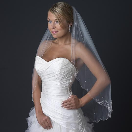 Elegance by Carbonneau Ivory Single Layer Fingertip Medium Length Scalloped Cut Edge with Floral Bead Bridal Veil Image 2