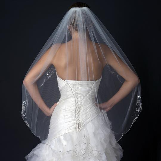 Elegance by Carbonneau Ivory Single Layer Fingertip Medium Length Scalloped Cut Edge with Floral Bead Bridal Veil Image 3