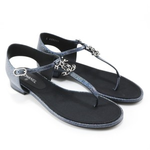 Chanel Tstrap Iridescent Logo Blue Black Sandals