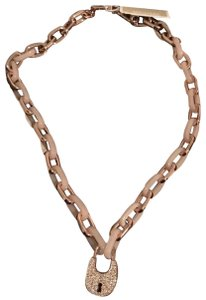 "Michael Kors New Michael Kors Heritage Padlock Rose Gold-Tone Chain Necklace, 19"" Chain"