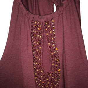 Ann Taylor Classy Beaded Cotton Top brown