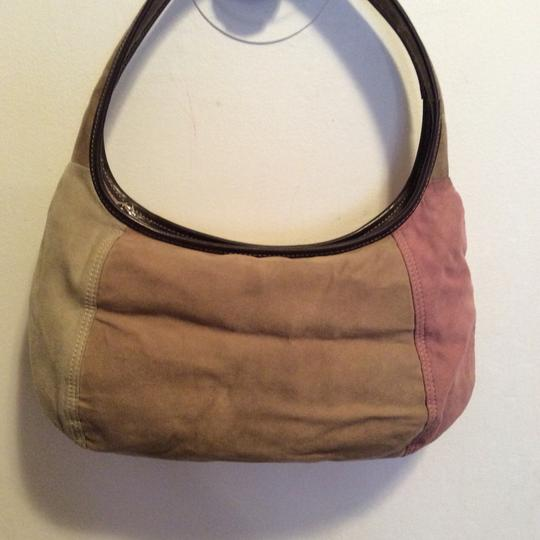 Liz Claiborne Satchel in pale pink, light green and tan Image 1