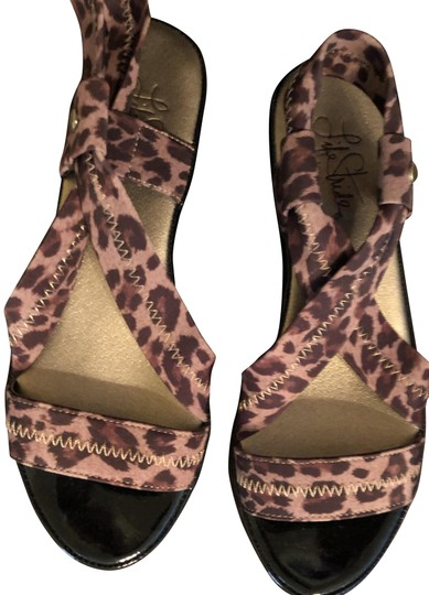 life stride Wedge Black Patent Leather Elastic Ankle Strap CLEARANCE----NWT New Leopard Sandals Image 1