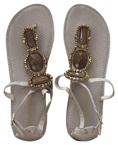 Arturo Chiang Summer Flats Jeweled Thong Sandals