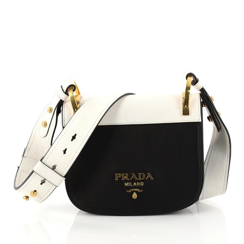 87183c60b7c8 Prada Pionniere Saddle City Calfskin Small Black and White Leather Cross  Body Bag