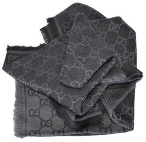Gucci NEW Gucci 281942 XL Wool Black Grey GG Guccissima Logo Scarf Shawl