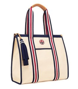 4ef2588bd01 Tory Burch Nautical White Flag Embroidered Yacht Tote in Ivory and Red and  Blue