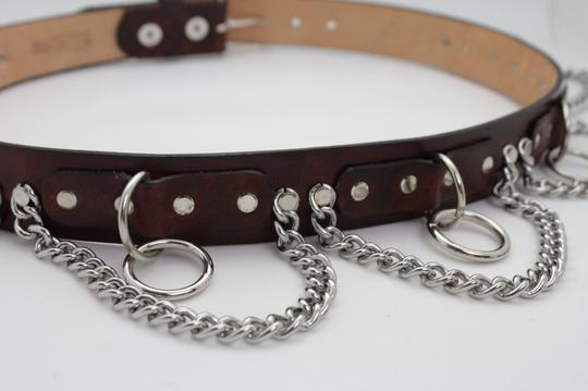 Alwaystyle4you Brown Leather Silver Metal Chain Biker Punk Rocker Fashion Women Belt Image 10