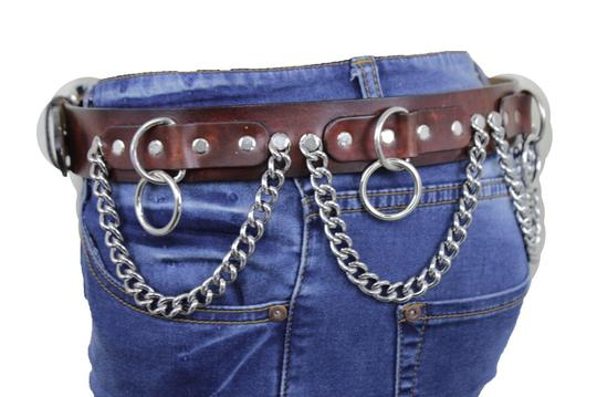 Alwaystyle4you Brown Leather Silver Metal Chain Biker Punk Rocker Fashion Women Belt Image 2