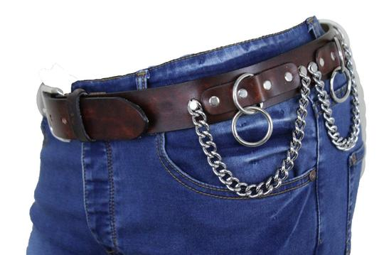 Alwaystyle4you Brown Leather Silver Metal Chain Biker Punk Rocker Fashion Women Belt Image 4