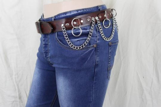 Alwaystyle4you Brown Leather Silver Metal Chain Biker Punk Rocker Fashion Women Belt Image 5