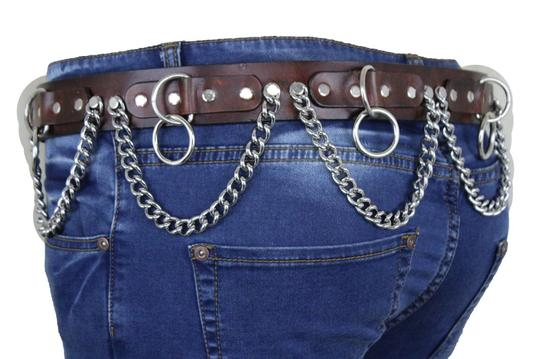 Alwaystyle4you Brown Leather Silver Metal Chain Biker Punk Rocker Fashion Women Belt Image 6