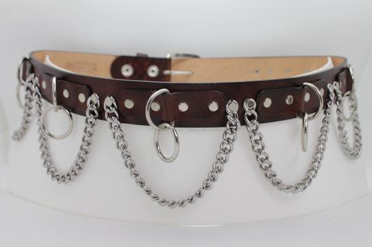 Alwaystyle4you Brown Leather Silver Metal Chain Biker Punk Rocker Fashion Women Belt Image 9