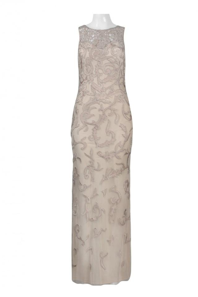 Aidan Mattox Champagne Sleeveless Beaded Gown Long Formal Dress Size ...