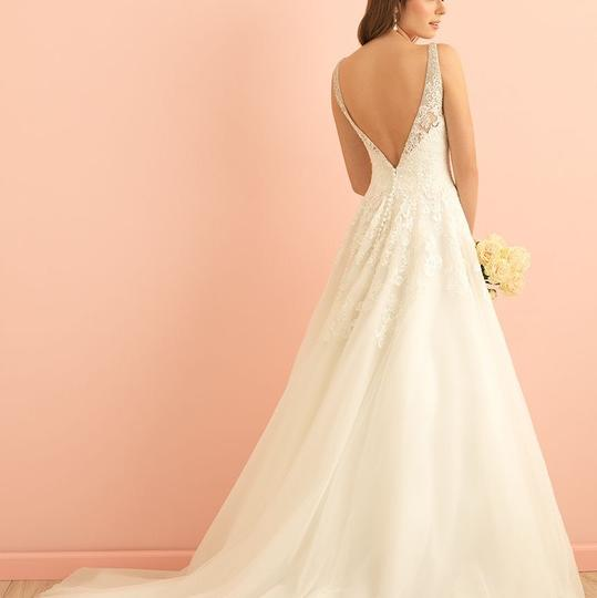 Allure Bridals Ivory with Silver Sequin Venice Lace and Tulle 2860 Traditional Wedding Dress Size 18 (XL, Plus 0x) Image 2