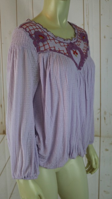 Free People New Boho Embroidery Pullover Top Lilac Image 4