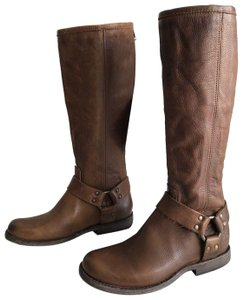 Frye Extended Calf Phillip Harness Riding Brown Boots