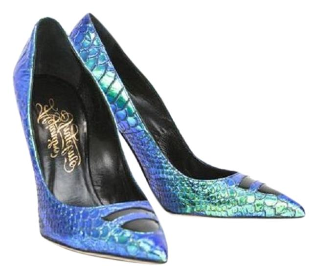 Alejandro Ingelmo Blue / Turquoise Iridescent Tron Leather Pumps Size EU 38.5 (Approx. US 8.5) Regular (M, B) Alejandro Ingelmo Blue / Turquoise Iridescent Tron Leather Pumps Size EU 38.5 (Approx. US 8.5) Regular (M, B) Image 1