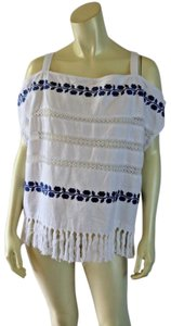 For Cynthia New Fringe Cold Shoulder Embroidery Pullover Top White, Blue