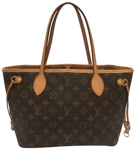 Louis Vuitton Neverfull Monogram Leather Tote in brown