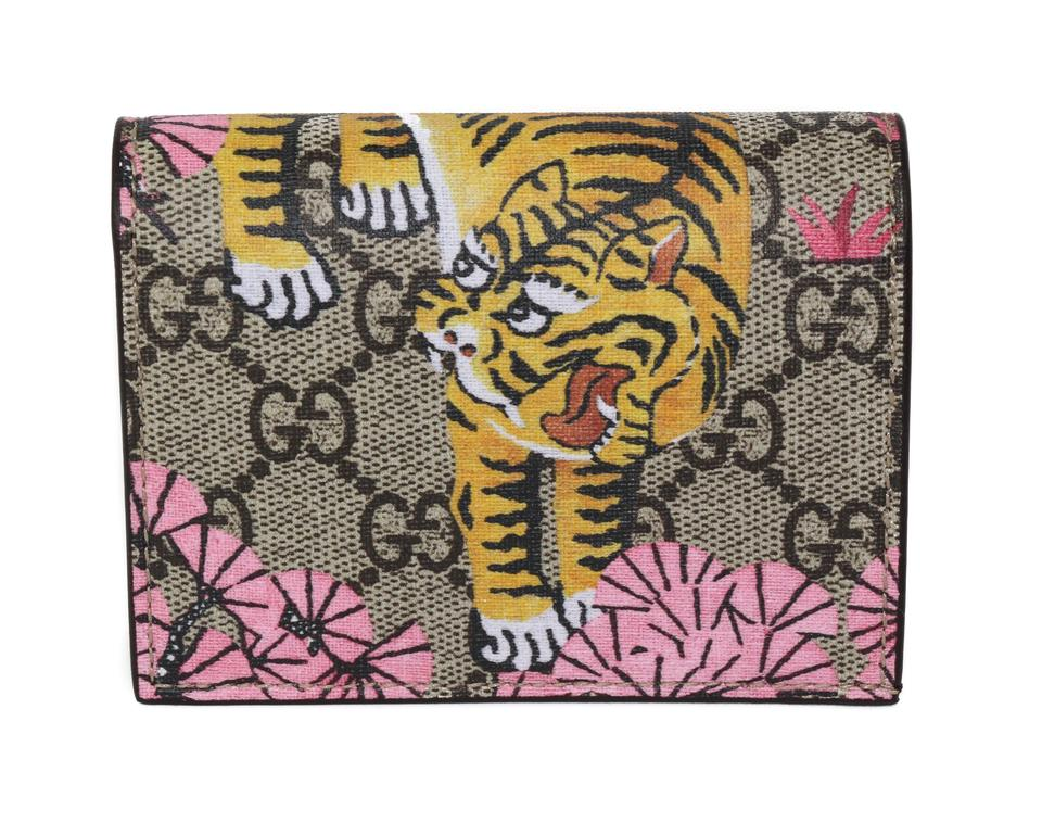 best service 43a14 08f7d Gucci Multicolor 452362 Gg Supreme Bengal Card Case Wallet 34% off retail