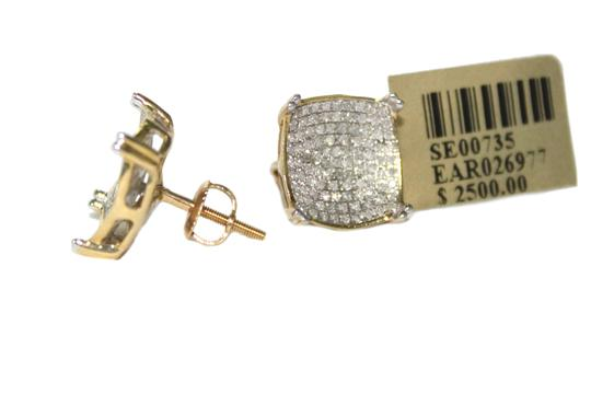 other 10K Yellow Gold Diamond Micropave screw back post earring for unisex Image 1