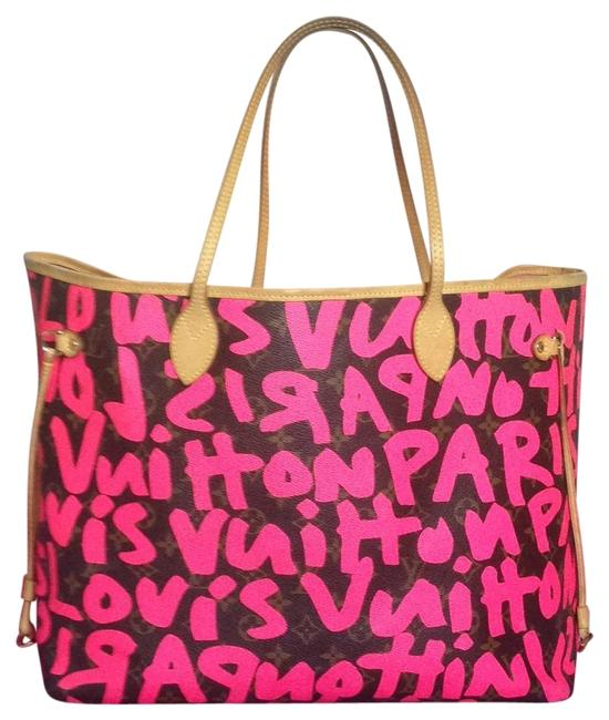 Item - Neverfull Bag Graffiti Gm Limited Rare Stephen Sprouse Shoulder Neon Pink Monogram Collectors Canvas Tote