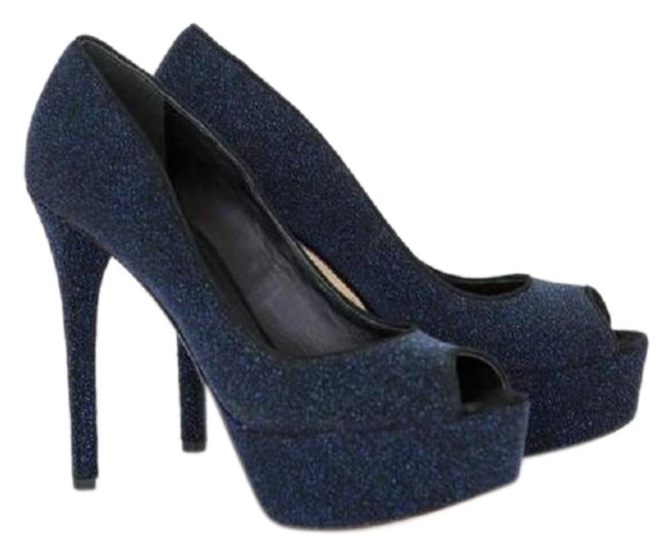 b61c10ea5c2c Brian Atwood Navy Blue   Black Glittery Heels Pumps Size US 8.5 ...