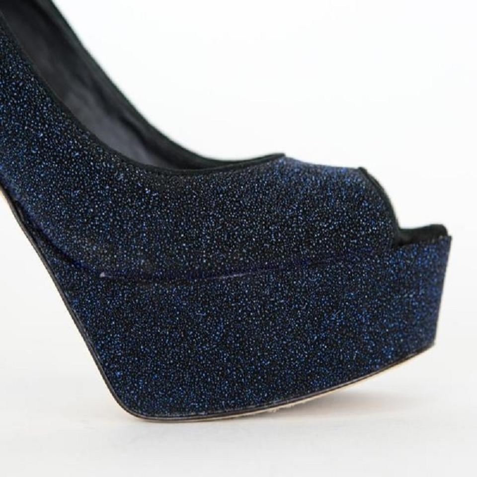 48ac964ff146 Brian Atwood Navy Blue   Black Glittery Heels Pumps Size US 8.5 ...