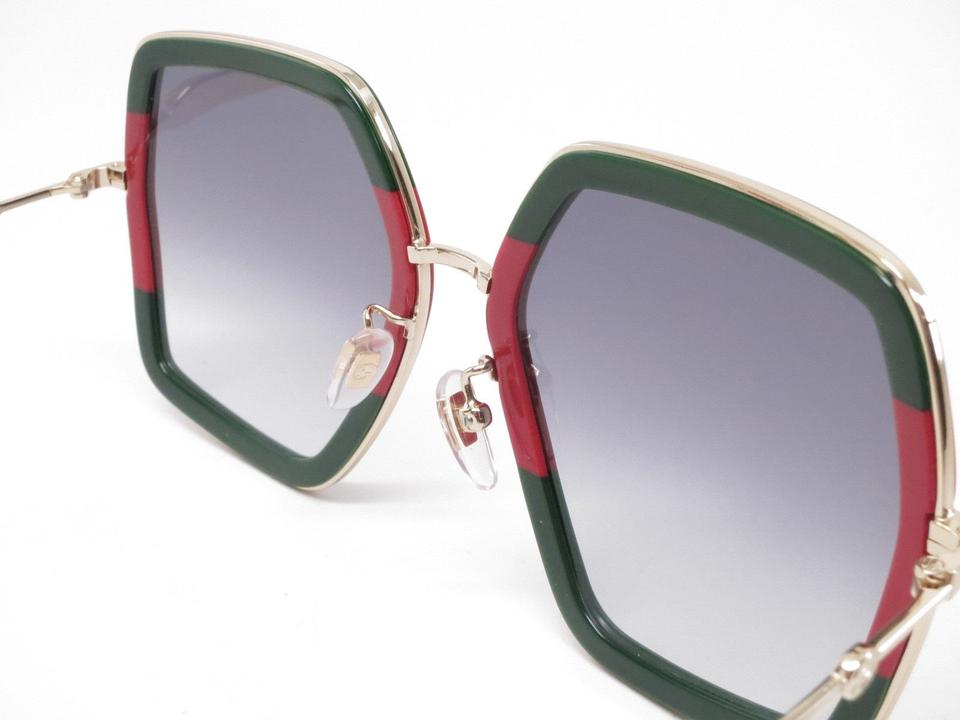 4fa45f55606 Gucci Gucci GG0106S 007 Gold red Green Square Sunglasses Brand New! Image  7. 12345678