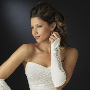 Elegance by Carbonneau Ivory Designer Fingerless Bridal Wedding Glove
