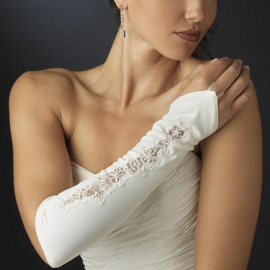 Elegance by Carbonneau Ivory Designer Fingerless Bridal Wedding Glove Image 1