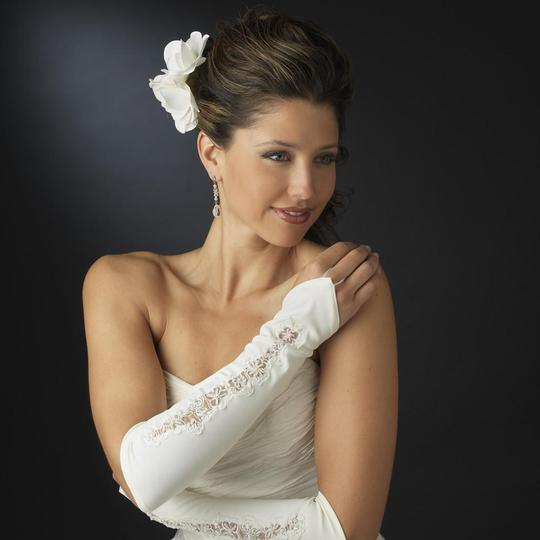 Elegance by Carbonneau Ivory Designer Fingerless Bridal Wedding Glove Image 2