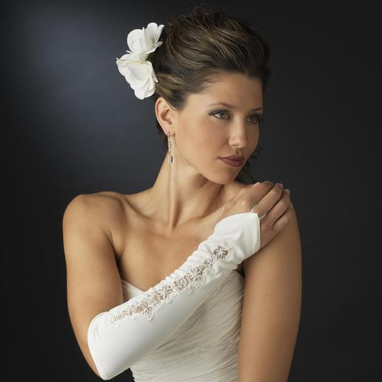 Elegance by Carbonneau Ivory Designer Fingerless Bridal Wedding Glove Image 3