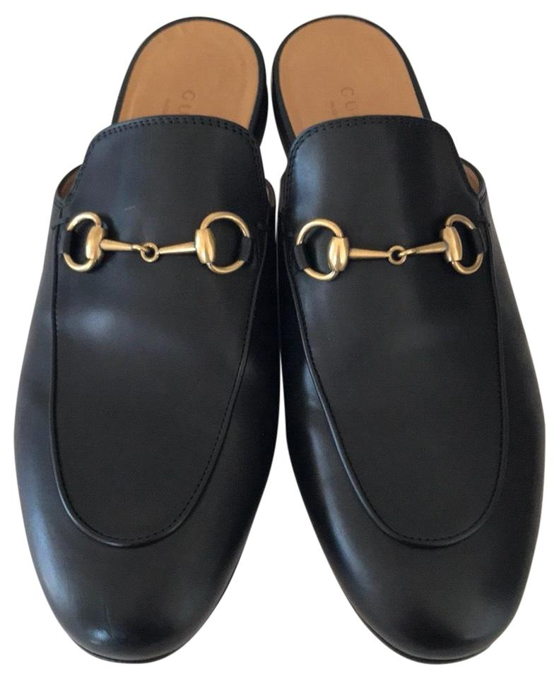 8d6dc5c834f Gucci Black Leather with Gold Hardware Princetown Mules Slides. Size  EU 38  (Approx. US 8) ...