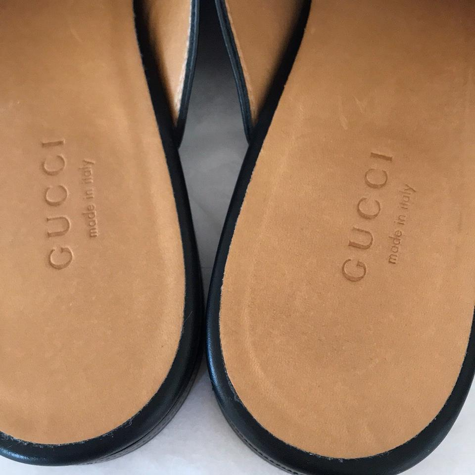 d7fbe24ffd3 Gucci Black Leather with Gold Hardware Princetown Mules Slides Size EU 38 ( Approx. US 8) Regular (M